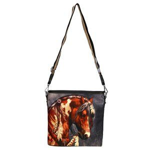 Montana West Cross Body Purse Horse Art Canvas Bag